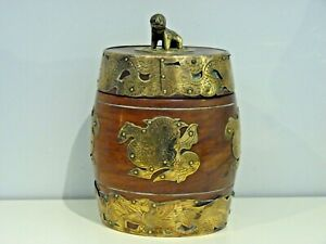 ANTIQUE/VINTAGE CHINESE WOODEN AND BRASS BARREL, SHANGHAI CHINA