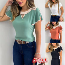 Women Ruffle Short Sleeve Crew Neck T Shirt Casual Slim Blouse Beach Summer Tops