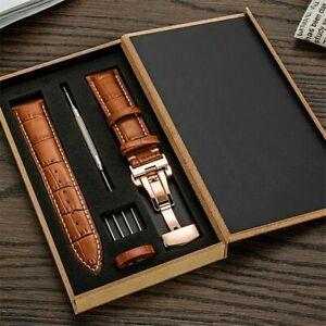 Bracelet en cuir vritable 16MM-22MM pour bracelet de montre, boucle...