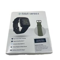 Fitbit Versa 2 Smartwatch Bundle w/Small & Large Bands Black + Bonus Olive band