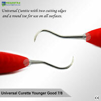 #7/8 Universal Younger Good Curettes Dentist Hand Scalers Silicone Red Handle CE