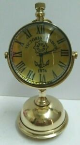 Stylish Base Antique Brass Table Clock  Table Watch, Desktop Clock, Paper Weight