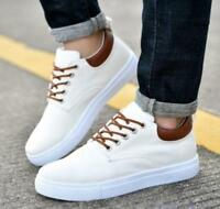 Men's Canvas Vogue Sneakers Lace Up Flat Outdoor Comfy Low Top Sport Shoes Solid