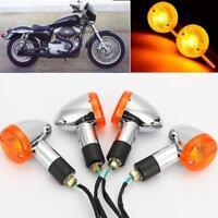4PCS Motorcycle Turn Signal Indicators Amber Blinker Light Universal 12V AU