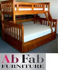 FORT SINGLE/ DOUBLE TIMBER TRIO BUNK BED IN TEAK - trundle is not included