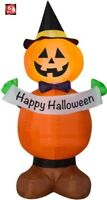 "4' Gemmy Airblown Inflatable Jack Stack Pumpkin Witch Holding ""Happy Halloween"""