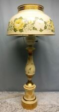 Hand Painted Vintage Toleware Tole Ware Metal Huricane Cream Gold Table Lamp