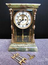 Antique Ansonia Green Onyx Brass Mantel Clock