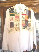 THE QUACKER FACTORY Long Sleeve Button Down Blouse with Angels - Size L