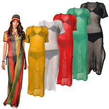 Ladies Rasta Multicolored Side Slit String Mesh Maxi Dress