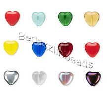 6 Czech 10mm Flat Heart Shaped Pressed Glass Beads with Hole Top to Bottom