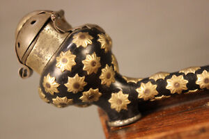 Superb UNSMOKED Vintage Wood HORN Floral Metal Straight Estate Pipe Pipa Pfeife