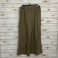 Soft Surroundings Tan Beachy Crinkle Gauze Cotton Wide Leg Pants Size Large