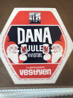 VESTFYEN BREWERY DANA SANTA CHRISTMAS RETRO DANISH BEER LABEL