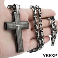 "18-36"" Men Stainless Steel Black Cross Pendant 5mm Byzantine Box Necklace Chain"