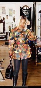 Fabulous Rare Stylish patchwork leather Coat Jacket M