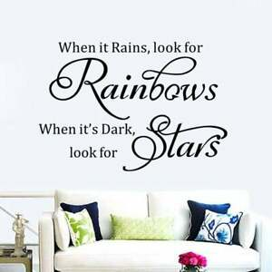 When it rains look for rainbows motivation Quote Wall Sticker Art Room Decal DIY