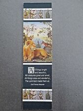 Vintage BOOKMARK Painting Animalia ALL THINGS BRIGHT & BEAUTIFUL G Base Antioch