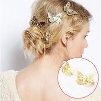 2x Femme Pince Epingle à Cheveux Clip Barrette Papillon Doré Fantaisie Bijoux NF