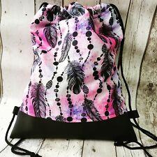 Rucksack Turnbeutel Tasche Neu handmade Pink Kunstleder Wasserabweisend