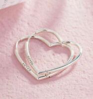 Authentic Pandora 925 Sterling Silver Asymmetrical Heart Hoop Earrings Stud Rose