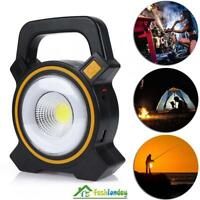 10W COB LED Portable Solar Power Floodlight Rechargeable Camping Work Light Lamp