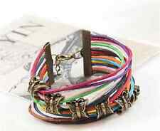 Multilayer Wrap Butterfly Leather Braided Rope Unisex Lucky Charms Bracelet
