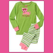 NWT 3 Gymboree GYMMIES sleepwear PJs Pajamas 2pc COTTON Green Kitty Sleep Mask