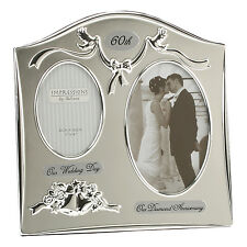 60th Diamond Wedding Anniversary Silver Plated Double Photo Frame Gift Ideas