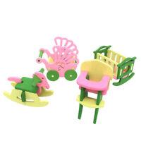 1X(1 set Bebe En Bois Dollhouse Meubles Poupees Maison Miniature Enfant Joue Q4V