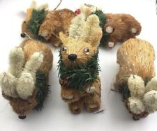 Rabbit Bunny Christmas Holiday Hand Crafted Ornament Nature Inspired (lot of 5)