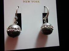 "KATE SPADE BLACK PEARL ""PEARLS OF WISDOM"" SILVER DANGLE DROP EARRINGS CHANDELIER"