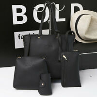 4pc/set Ladies PU Leather Handbag Shoulder Messenger Bag Satchel Tote Purse Bags