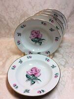 Vintage Warwick China (6) Flat Rimmed Soup Bowls Pink Rose Gold Trim Wheeling US