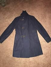 Men's Zara Navy Blue Duffle Long Coat Medium Trench Overcoat Peacoat 38-40