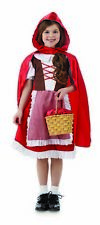 Girls Little Red Riding Hood Costume S -XL Kids Fairytale Fancy Dress Fairy Tale