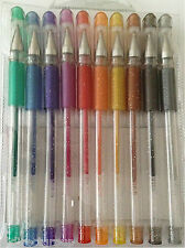 10 X PACK GLITTER GEL PENS Assorted Various GLOSSY Colours Writing School Crafts