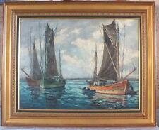 huile sur toile peinture de Pierre Bogdanoff marine voiliers tableau