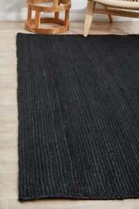 Indian home decor area jute rug hand braided bohemian black color pure jute rug