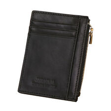 Retro Mens Leather Wallet Credit ID Card Holder Slim Zipper Cash Coin Purse