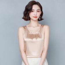 Ladies Beaded Satin Vest Shirts Faux Silk Sleeveless Tee Tank Tops Pleated Tops