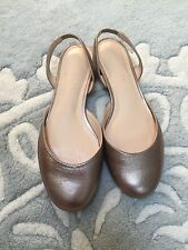 Talbots Gold Metallic Ballet Flats Shoes Sling Back Leather 6 Excellent