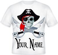GIRLS BOYS Top Sublimation Personalised Pirate Skull Cross Bones T Shirt Gift!