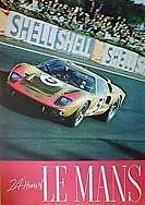 24 Hrs Le Mans GT/40 Racing  Out of Print Car Poster WOW!