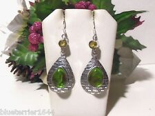Silver drop/dangle earrings with mystic green aqua stone and a yellow citrine.