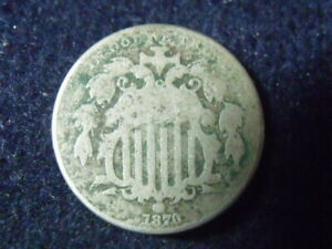 1870 Shield Nickel 5 Cent VG DETAILS,  FREE SHIPPING S-93