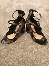 By Very Ladies high heel shoes size 8 Black Floral never worn pink blue design