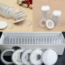 20x 46mm Transparent Round Coin Holder Portable Storage Case Container Display