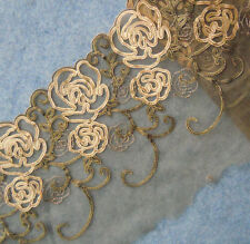 "4.6 Yards 7"" Wide Taupe Mesh Tulle Lace with Embroidered Beige Flower 641"