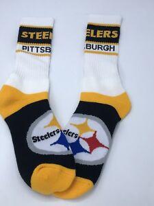 Pittsburgh Steelers NFL Football Team Colors Crew Socks